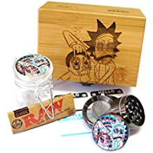 "Rick-Morty Laser Etched Sacred Geometry Stash Box, 1.6"" Zinc Alloy Grinder, Small Stash Jar - ALL IN ONE Box Package Item# WBCS011518-2"