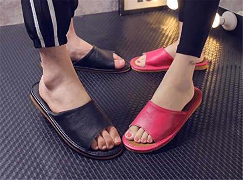 for Anti Noir Smelly Men Floor Cowhide Leather M Summer Women Slippers TELLW Spring Autumn Wooden Corium fxwTqqpP
