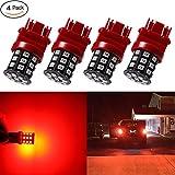 Antline 3157 3156 3057 4157 3056 LED Bulbs Brilliant Red, 12-24V Super Bright 800 Lumens Replacement for Tail Brake Lights, Turn Signal Lights, Parking Light (Pack of 4)