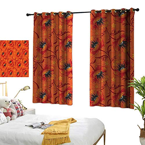 Warm Family Thermal Insulated Drapes for Kitchen/Bedroom Burnt Orange Decor Poppy Flower Series Blossoms Romance Bohemian Artistic Design Print Noise Reducing 55