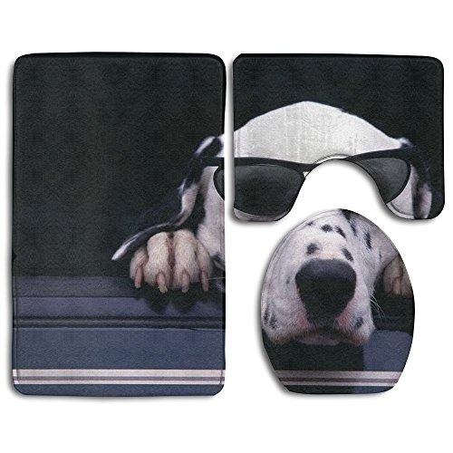 Dalmatian Face Sunglasses Dog Non-Slip Bathroom Bath Mat Rug Set, 3 Piece Bath Set Pedestal Rug + Lid Toilet Cover + Bath Mat Decoration 3 Sets Perfect For Bath, Tub, - Sunglasses Page Coloring