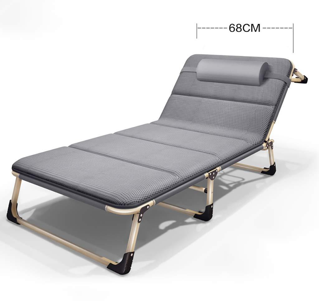 いす クッションと枕アウトドアキャンプビーチテラスポータブルヘビーデューティー芝生チェア、メタル、ベアリング容量:300kgの折りたたみラウンジチェア (Color : Gray) B07P2S5X88 Gray