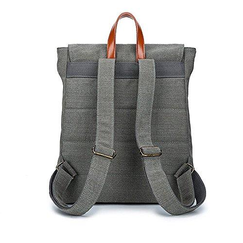 ivotre 2017Slim Vintage de Lona Casual bolsa de hombro mensajero mochila con decoración de piel Para Hombres de trabajo, campamento, estudio, Hike, hacer deporte, viajes, tienda gris
