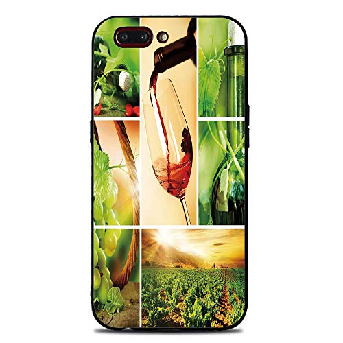 Phone Case Compatible with iphone7 Plus iphone8 Plus Brandnew Tempered Glass Backplane,Wine,Wine Tasting and Grapevine Collage Green Fresh Field Pouring Drink Delicious Decorative,Green Ruby Caramel,A