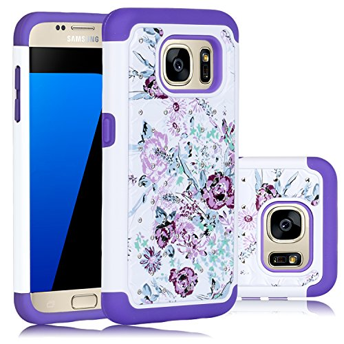 Galaxy S7 Case, HengTech (TM) Premium Durable Dual Layer Hard & Soft Hybrid Rhinestone Bling Armor Defender [ Anti Scratch ] Phone Case Cover Shell for Samsung Galaxy S7 ( Floral- White / Purple)