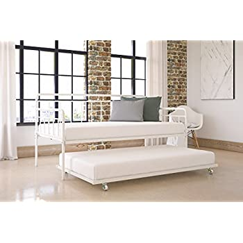 Modern Wallace Daybed with Trundle Combo, Twin Metal Bed Frame, Strong Sturdy Slats Support Memory Foam and Coil Mattresses, No Foundation or Box Spring Needed, Mattresses not Included, White