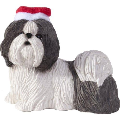 Shih White Tzu Ornaments (Sandicast Silver and White Shih Tzu with Santa Hat Christmas Ornament)