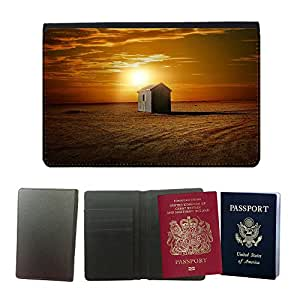 Super Stella PU Leather Travel Passport Wallet Case Cover // M00421466 Landscape Desert Sand Hut Sunset // Universal passport leather cover