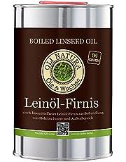 OLI-NATURA Lijnolievernis houtolie, natuurlijke/biologische houtbescherming voor binnen en buiten, 1 liter, kleurloos - naturel