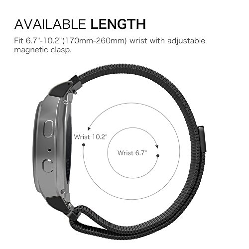 Gear S2 Watch Band [Large], Fintie [Magnet Lock] Milanese Loop Adjustable Stainless Steel Replacement Strap Bands for Samsung Gear S2 SM-R720 / SM-R730 Smart Watch - Black by Fintie (Image #6)