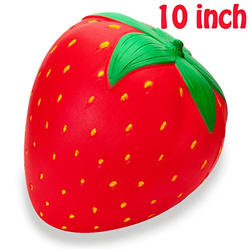 R.HORSE 10 inch Jumbo Squishy Kawaii Cute Strawberry Cream Scented Squishy Soft Kids Toys Doll Stress Relief Toy Hop Props, Decorative Props Large (Jumbo Strawberry)
