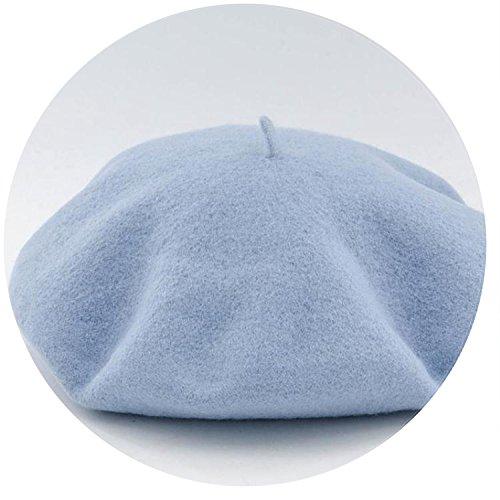 Summer-lavender-Berets Wool Beret Painter Cap Flat Boina Gorras Planas Candy Color Beret,Sky Blue,56-58cm