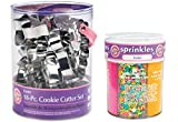Wilton Cookie Making Bundle of 2 Items: 18pc Metal Cookie Cutter Set & 6 Mix Easter Sprinkle Assortment