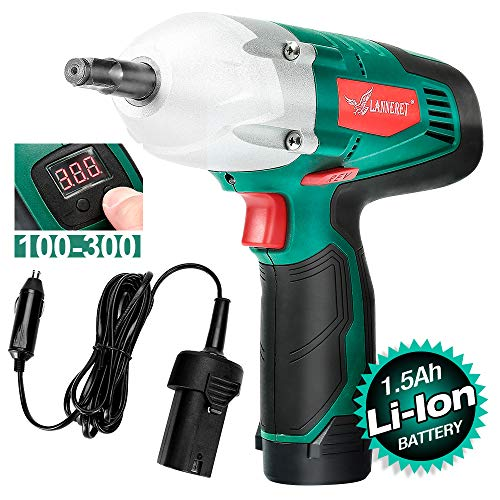 LANNERET Electric Impact Wrench Gun 300 ft-lbs 400 N.M Torque,12Volts&1/2 Inch Impact Driver Kit,Double Power,Digital Display Torque Adjustable