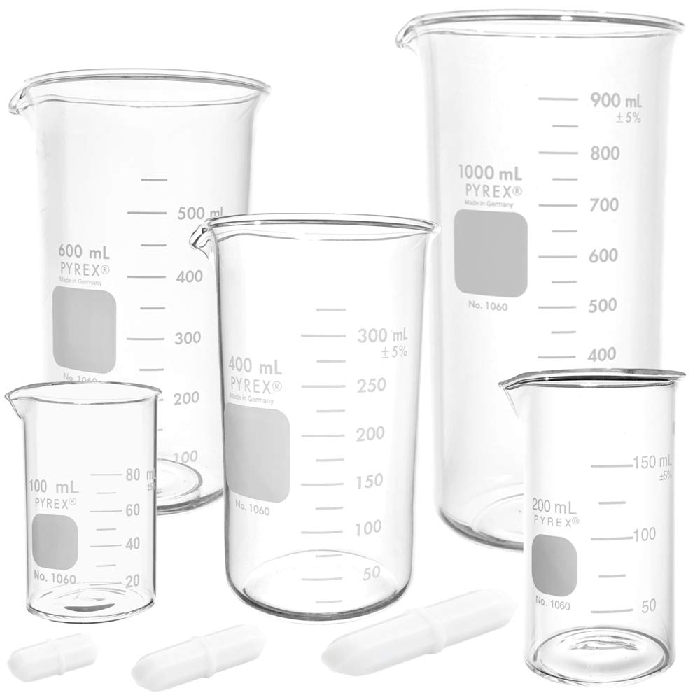 Corning Pyrex #1060 Beaker Set with Magnetic Stir Bars, Berzelius, Tall Form - 5 Sizes - 100, 200, 400, 600, and 1000ml