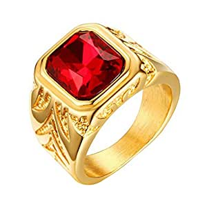 INRENG Men's Stainless Steel Ring Square Ruby Gemstone