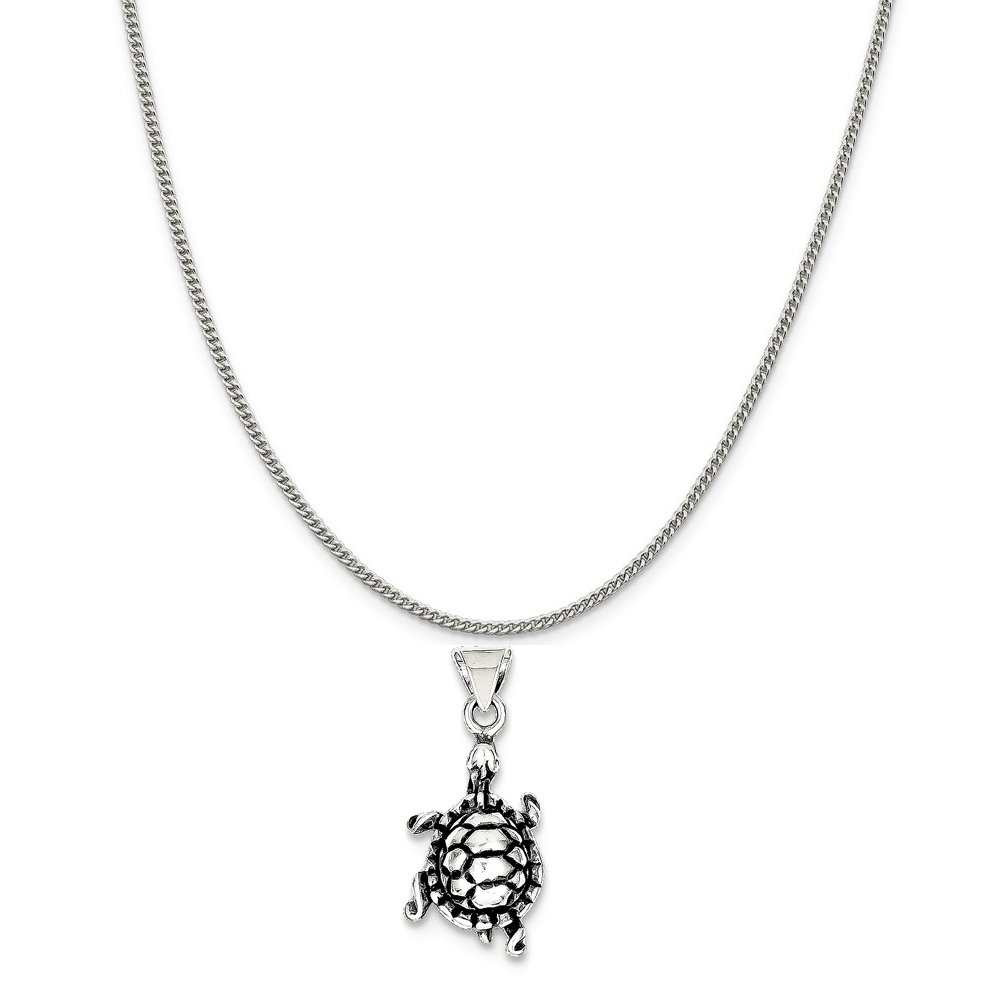 Mireval Sterling Silver Antiqued Turtle Charm on a Sterling Silver Chain Necklace 16-20
