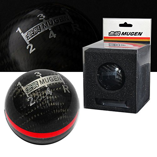 Mugen For Honda/Acura Carbon Fiber 5 Speed Shift Knob with Red Stripe - Mugen Gear Knob
