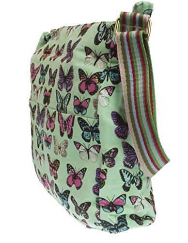 Bolsos Las De La De Femeninos Queda Nuevos Luz Se Bolsa Mensajero De Atrás Mariposa Lona Algodón Verde Lavados Señoras De dxXwT18q
