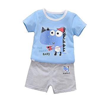 Shiningup Conjunto de pijamas de verano para bebés y niños Conjunto de ropa de pantalones y camisetas impresas para dinosaurios de 2 pcs: Amazon.es: ...