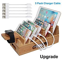 Bamboo Charging Station Organizer for Multiple Devices & Wood Desktop Docking Charging Stand Such As Cell Phone, Tablets…
