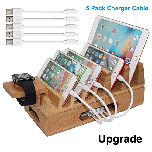 Pezin & Hulin Bamboo Charging Station Organizer for Multiple Devices & Wood Desktop Docking Charging Stand Such As Cell Phone