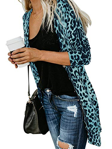 Womens Classic Sexy Leopard Cheetah Printed Mid Length Pullover Cardigan Blouse Outwear Blue M (Leopard Cardigan Silk)