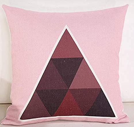 LINGKEAI Cojín Cojín geométrico Decoración Triángulo Rosa ...