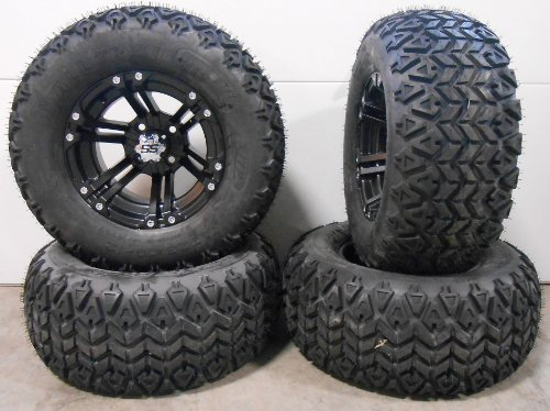 "Bundle - 9 items: ITP SS212 Black Golf Wheels 12"" 23x10-12 All Trail Tires"