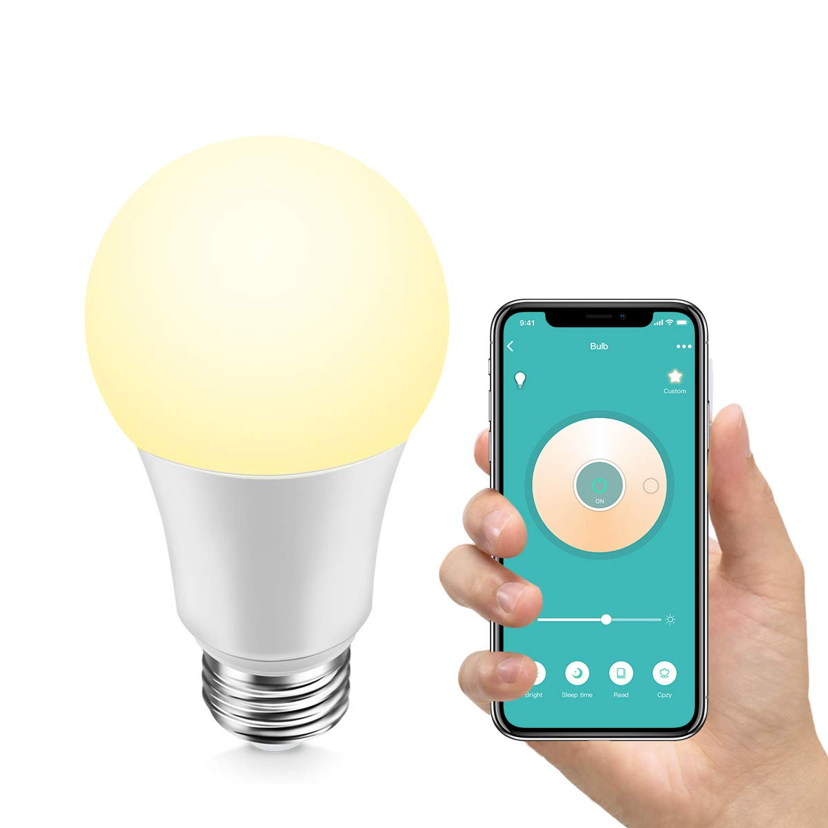 Konke Smart WiFi LED Bulb Dimmable,A19,E26,9W,Works with Alexa,Google  Home,Assistant, No Hub Required,Colour Temp Adjustable,White,1Pack