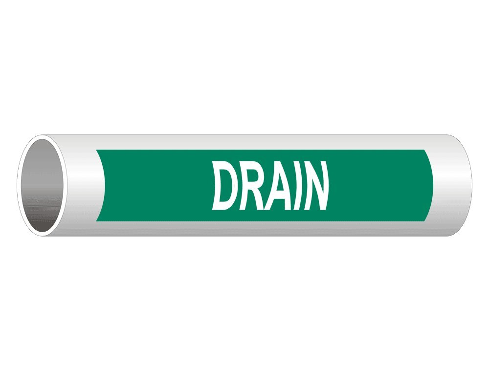 8x2 in Drain White On Green English 5-Pack Vinyl for Pipe Markers by ComplianceSigns Spanish ASME A13.1 Pipe Label Decal