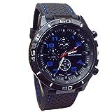 YANG-YI Military Watches Sport Wristwatch Silicone Fashion Hours Quartz Watch Men (Blue)