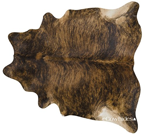 Cheap ecowhides Brindle Brazilian Cowhide Area Rug, Cowskin Leather Hide for Home Living Room (XL) 7 x 6 ft