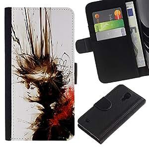 NEECELL GIFT forCITY // Billetera de cuero Caso Cubierta de protección Carcasa / Leather Wallet Case for Samsung Galaxy S4 IV I9500 // Abstract Splash Rubio
