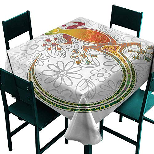 DONEECKL Waterproof Tablecloth Batik Tribal Art Frog Flowers and Durable W36 ()