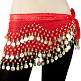 SODIAL(R)Egypt belly dance skirt costume wear hip wraps golden 128 coins belt chain£¨Red£©