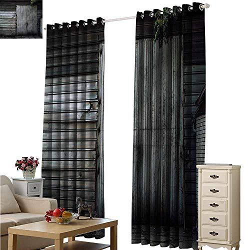 (Fakgod Blackout Curtains Industrial Zinc Door Old Blackout Window Curtain 2 Panel W84x84L)