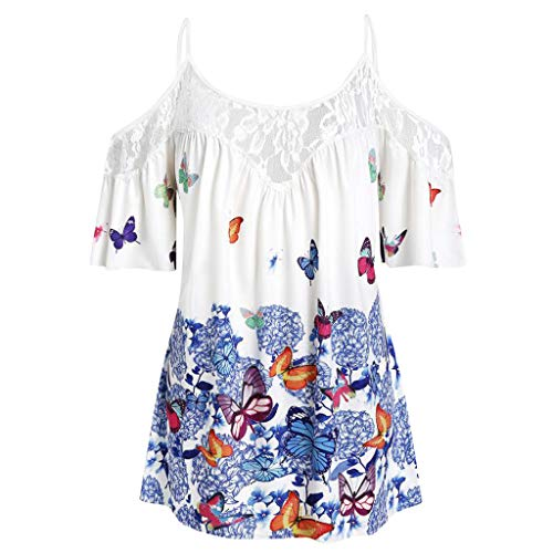 MIUCAT  Women's Off Shoulder Tops Butterfly Printed Short Sleeve Casual Loose Lace Slim Summer O-Neck Tops - Panhandle Plaid Western Slim Shirt