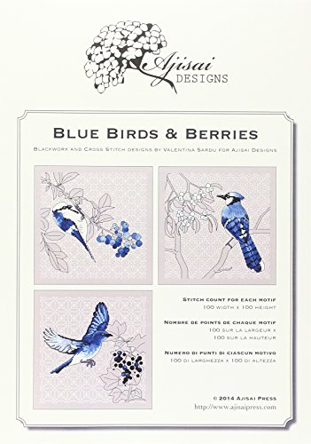 Blackwork Design - Blue birds & Berries. Cross stitch and blackwork designs