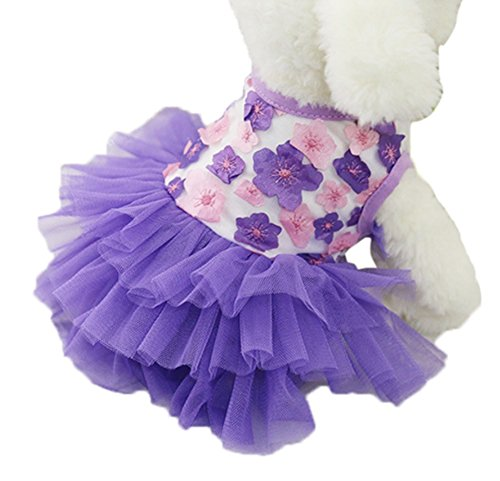 Stock Show 2018 Summer Sweet Puppy Doggie Flower Phoenix Printed Princess Suspender Skirt Pet Dog Cute Pink Lace Camisole Tutu Dress Dog Party Wdeeing Dresses Applique Pet Clothes, Purple Stock Applique