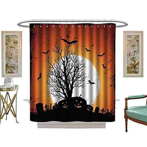 luvoluxhome Shower Curtains 3D Digital Printing Jack O' Lantern of Pumpkins for Halloween Holidays W72 x L96 Bathroom Decor Set with -