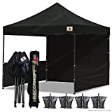 ABCCANOPY 10×10 RHINO-series EASY Pop Up Canopy Tent Commmercial Grade with Matching Sidewalls AND ROLLER BAG bouns 2pcs half wall (black) For Sale