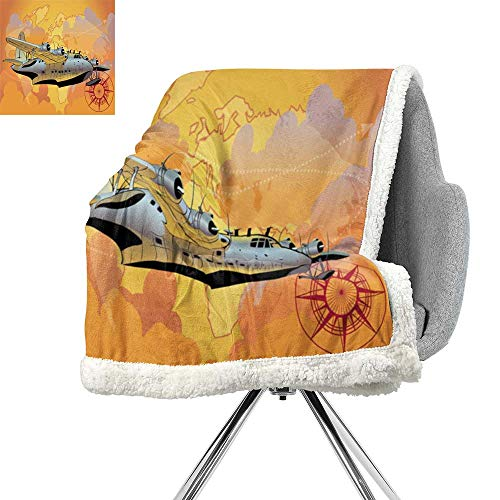 - Vintage Airplane Decor Lightweight Fluffy Flannel and Sherpa Blanket,Retro Seaplane in Sky World Map Compass Adventure Travel Journey,Multicolor,Soft Premium Cotton Thermal Blanket W59xL78.7 Inch