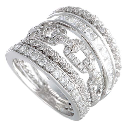 - Odelia 18K White Gold Round Asscher Cut Diamonds Wide Band Ring