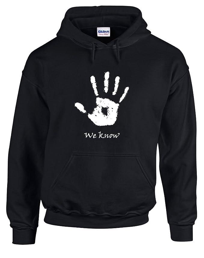 Brand88 - We Know Handprint, Printed Hoodie