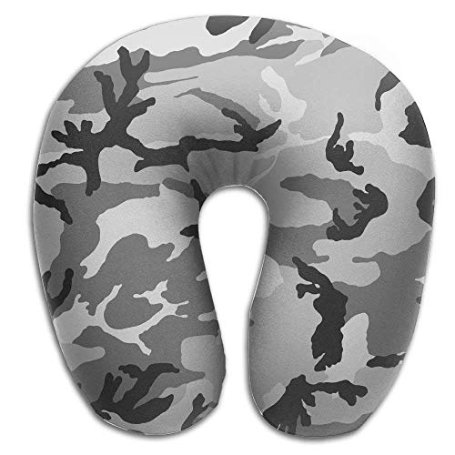 CHJOO Neck Pillow,Grey Military Camo Memory Foam U-Shaped Pillow,Unique Travel Rest Pillow for Neck Pain,Breathable Soft Comfortable Adjustable ()