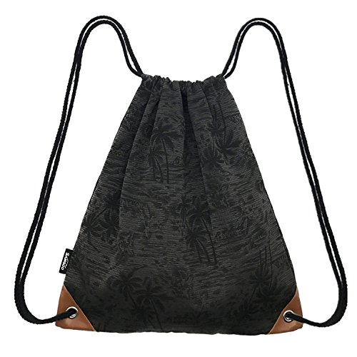 Drawstring Bag Canvas Lightweight Coconut Palm tree Printing Art Gym Sack Sport Bags Backpack ()