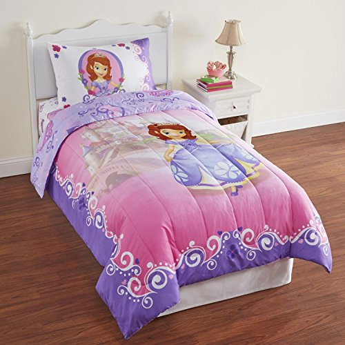 4pc Sofia the First Twin Bedding Set Disney Princess in Training Comforter and Sheet Set