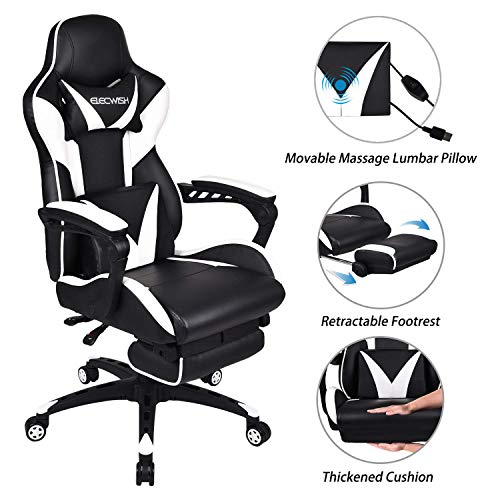 ELECWISH White Massage Gaming Chair Ergonomic Offic PC Gaming Chair for Computer with Footrest and Lumbar Support