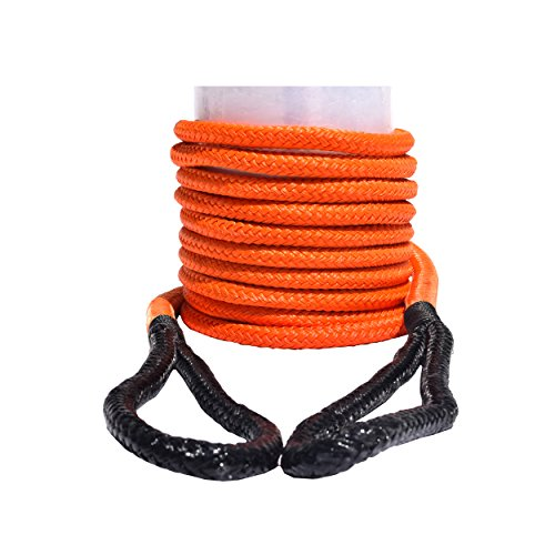 QIQU Kinetic Recovery & Tow Rope Heavy Duty Vehicle Tow Strap Rope for Truck ATV UTV SUV Snowmobile and 4x4 Off-Road Recovery 3 Size to Choose(1/2''/3/4''/1'') 3 Color (1/2''x20', Orange) (Best Kinetic Recovery Rope)